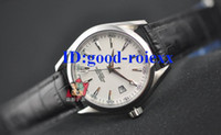 Wholesale Cheap Crystal Buckles - Free Shipping Men's White Dial Handwinder Mechanical Cheap Watch Dress Chronometer Co Axial Men Leather Fashion Watches