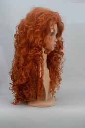 Wholesale Cosplay Asian - Brave merida Fashion Long Orange Curly Heat Resistant Cosplay Wig 22'inch