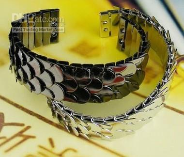 Frete grátis hot pulseiras comércio exterior retro arma de metal preto escamas de peixe bling pulseira 6 pçs / lote