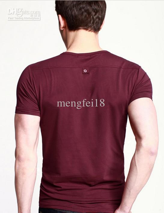 Cool vêtements shopping hommes à manches courtes v-cou t -shirt version coréenne de Slim hommes casual manches courtes t -shirt marée 204