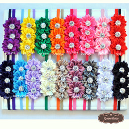 Wholesale Black Headband Flower - Triple Satin Ribbon Flower Headband with Sparking Rhinestone Elastic Baby Headbands Photography Props 20pcs lot QueenBaby