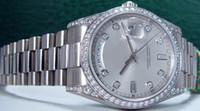 relógios automático novo 36mm venda por atacado-Novo Relógio Automático 36mm Mens 18kt WG DIAMOND Presidente Prata Dial 118389 Relógio de Pulso dos homens