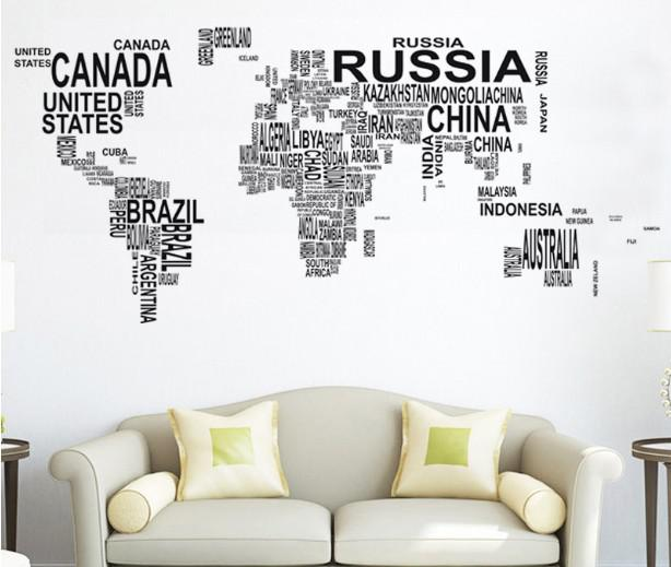 sweet life!letters map of world wall decals art mural removable