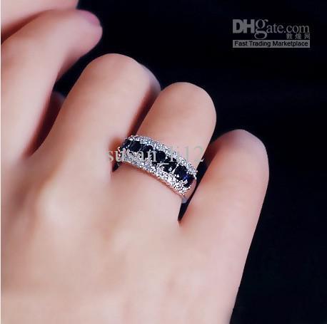 Size5 / 67/8/9/10/11 gioielli elegante zaffiro naturale della signora 10KT oro bianco Riempito Anello 1 pz spedizione gratuita