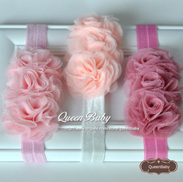 Wholesale Mesh Hair Flower - Triple Mesh Flower Headband Elastic Hair Band Photography Props Baby Shower Gift Newborn 20PCS lot QueenBaby