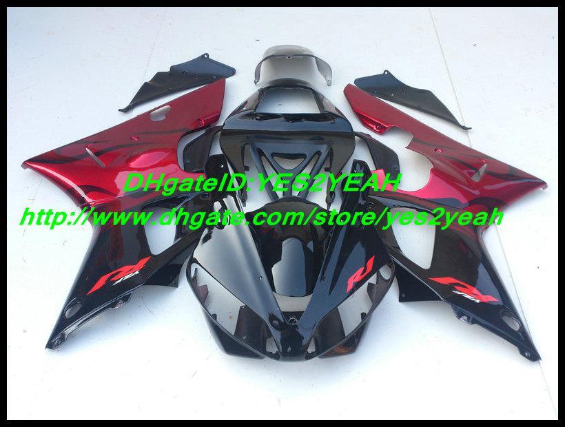 ABS Red Kit preto de carenagem para YAMAHA YZF R1 00 01 YZF-R1 YZF1000 YZFR1 2000 2001 Carenagem + 7 compartimentos