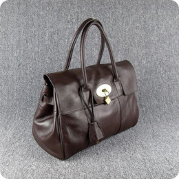 Wholesale leather tote pockets - Designer women handbags Luxury soft cow leather 38cm width travel Totes metal button first hand prices free shipping