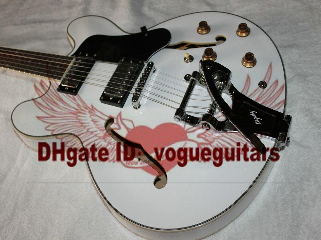 Blanc 335 Classique Semi Hollow Jazz Guitar avec De La Chine Livraison Gratuite C46