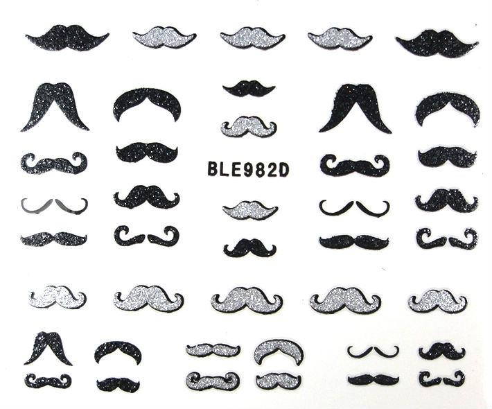 7 Styles Mustache Assortment Nail Art Stickers Decals Curly