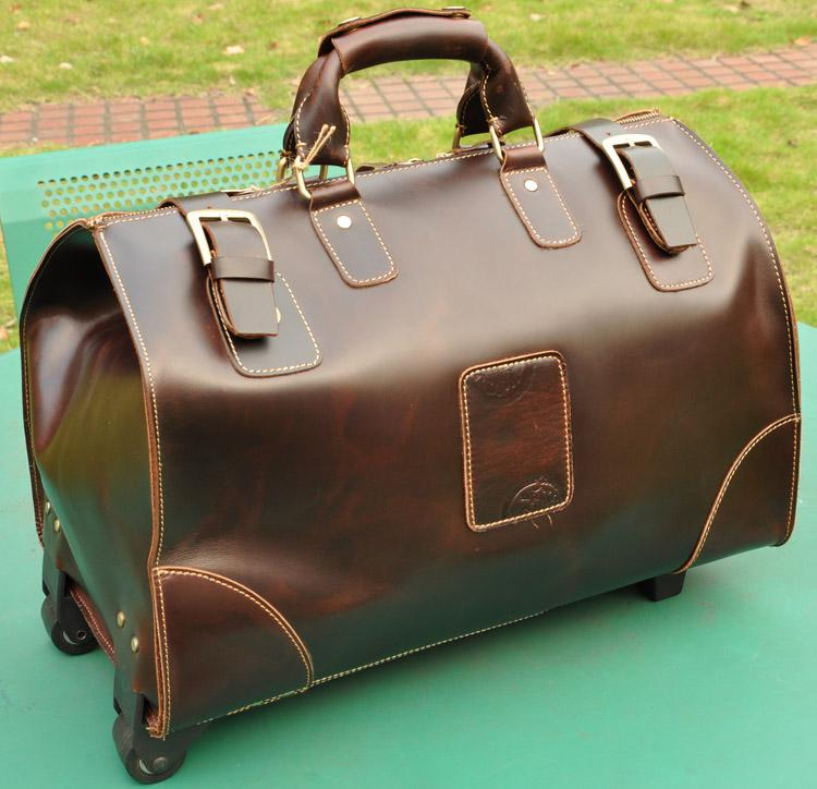 Men's Boy's Top Bull Leather Very Large Luggage Upright Trolley ...