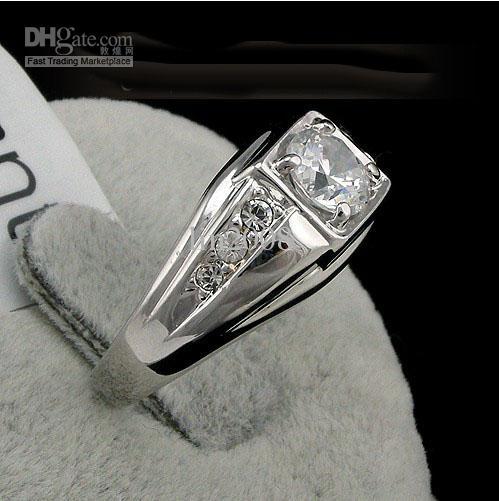 new fashion 2016 Swarovski crystal men Ring , white 18k gold plated finger rings ,wedding gold filled CZ diamond jewelry