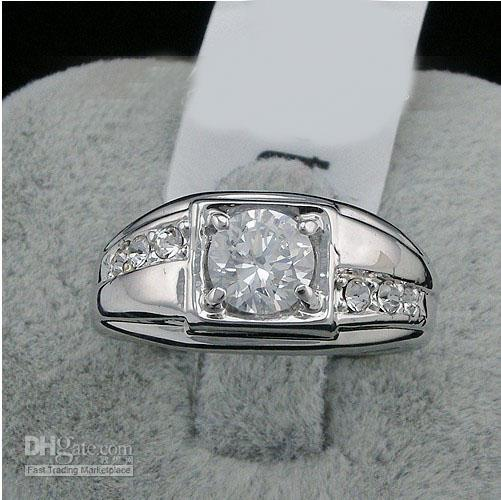 New Fashion 2016 Swarovski Crystal Men Ring White 18k Gold
