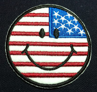 Wholesale Iron Patches Flags - Wholeslaes~10 Pieces Smile Face US Flag (6.5 x 6.5cm) Embroidered Iron On Applique Patch Punk Patch