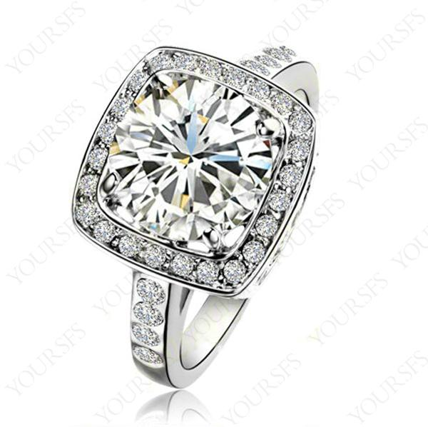 best selling Yoursfs Gorgeous 3.5 ct Big Square Shape Austrian Crystal Platinum Plated Wedding Engagement Rings for Women Banquet Fashion Jewelry
