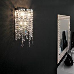apliques de pared rústicos Rebajas Moderno espejo de cristal luz baño lámpara de pared moderna para lavabo lámpara de pared de cristal lámpara de pared lámpara de pared de cristal