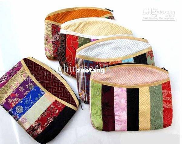 Colorful Zippered Purses Tassel Splice Money Pouch Silk Fabric Coin Bags 10pcs/lot mix Color Free