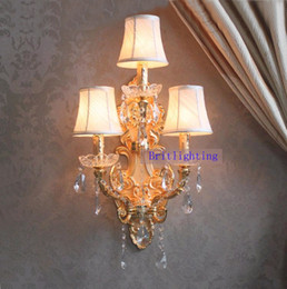 Wholesale Fabric Wall Lights - modern wall lamp crystal home Large sconce gold finish wall sconces LED crystal wall light with fabric shade hotel bathroom mirror light