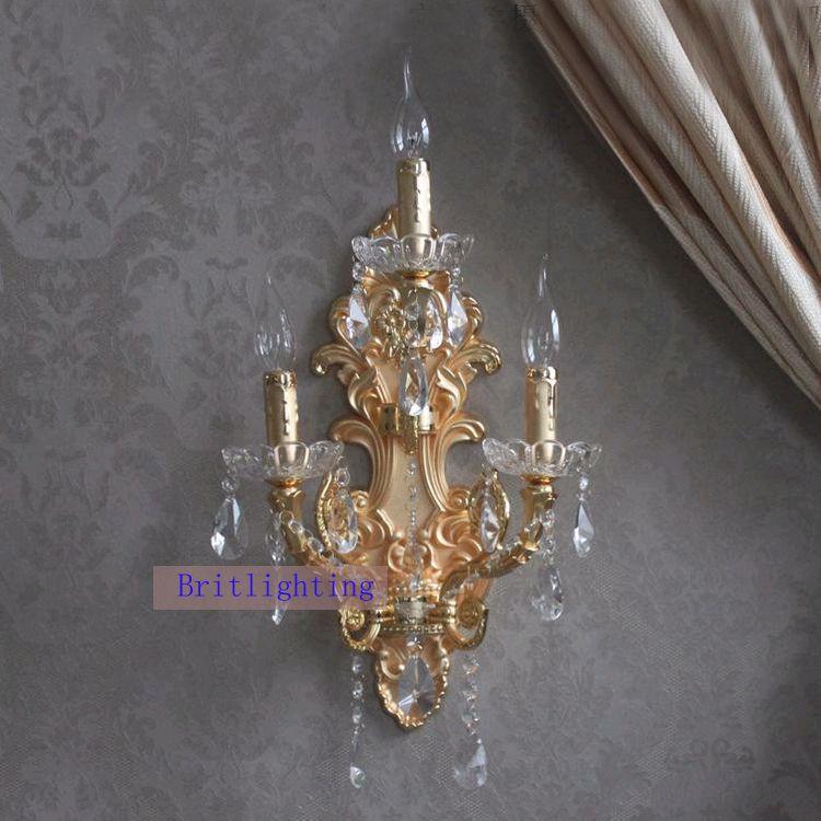 Applique murale moderne en cristal grande maison appliques murales de finition en or LED cristal applique murale avec ombre de tissu hôtel salle de bains miroir lumière