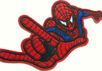 Wholesale Iron Applique Spiderman - Wholesales 10 Pieces~Comic Movie Spiderman (12 x 6.5 cm) Embroidered Iron On Applique Patch Punk Patch