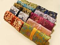 kosmetiktaschen verpackung groihandel-drei Reißverschluss Schmuck Roll Up Clutch Bag Travel Lagerung Kordelzug Chinesische Seide Brokat Frauen Kosmetik Make-up Verpackung Beutel