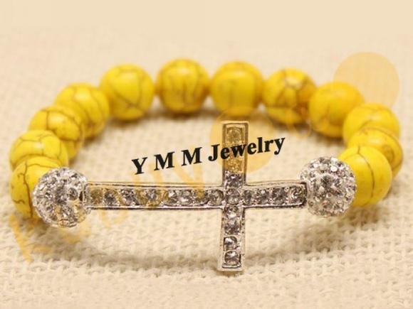 Stretchy Sideway Cross Bracelets Yellow Turquoise Beads European Bracelet For Women Valentine's Day Gift