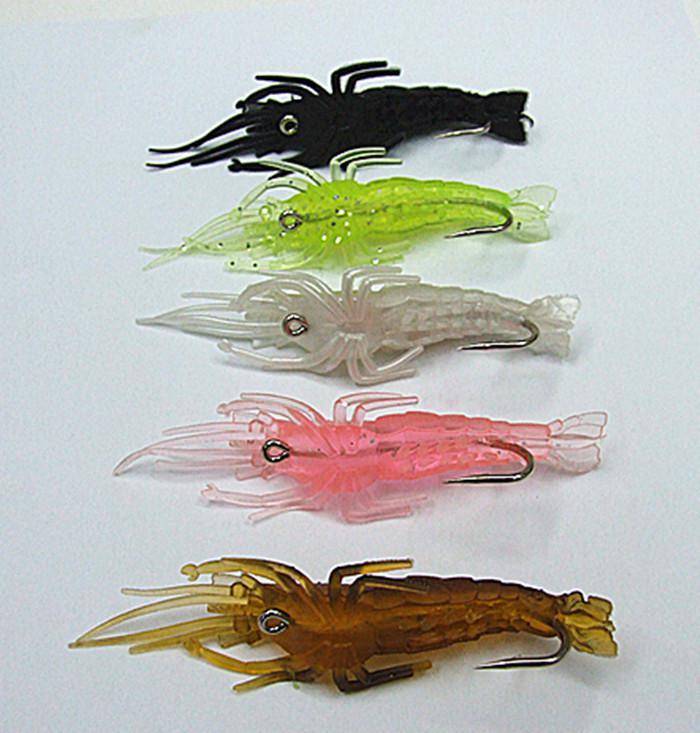 Leurres de pêche douce crevettes appâts mous Conception de forme de crevettes réaliste réaliste avec crochet multiple couleur 10.5cm / 8g