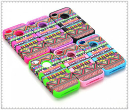 Wholesale Aztec Silicone Iphone Covers - 3 in 1 Hybrid PC+SILICONE Hard Soft Aztec Tribal Tribe Heavy Duty Cover Case For iPhone 4 4S