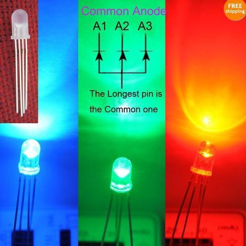 5mm LED RGB Común Ánodo Lente difusa; Manual de Control de 4 pines tricolor de envío libre