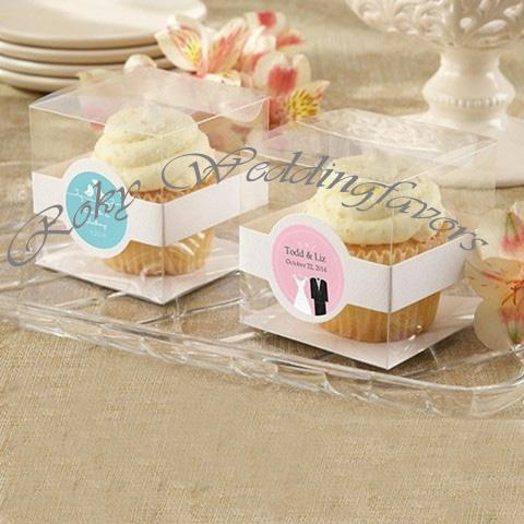FREE SHIPPING 100PCS 9X9X9CM Bomboniere Favor Holder Clear PVC CupCake Box with Paper Insert Party Package Supplies