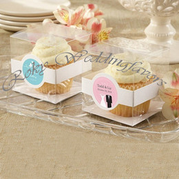 Wholesale Cupcake Packaging Boxes - FREE SHIPPING 100PCS 9X9X9CM Bomboniere Favor Holder Clear PVC CupCake Box with Paper Insert Party Package Supplies