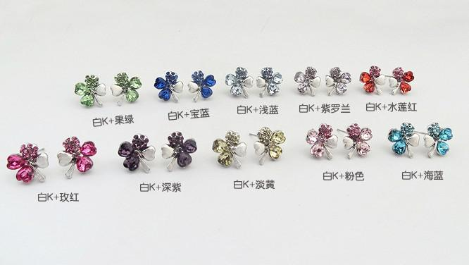 es del trébol de cuatro hojas del pendiente de las mujeres de alta calidad de la CZ pendientes de cristal joyería de moda regalo