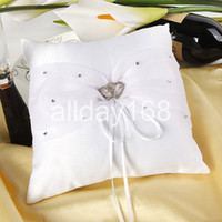 Wholesale Heart Pillow White For Wedding - High quality Wedding supplies white two rhinestone heart Satin Ring Pillow for Wedding Ceremony Party Stuff Accessories