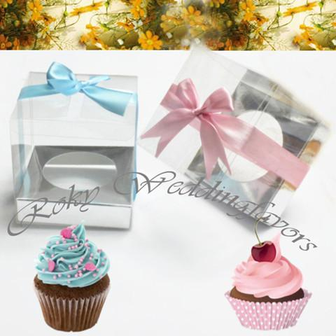 9X9X9CM Square andTransparent PVC Cupcake Boxes Wedding Favors Holder PVC Cupcake Package Party Sweet Boxes