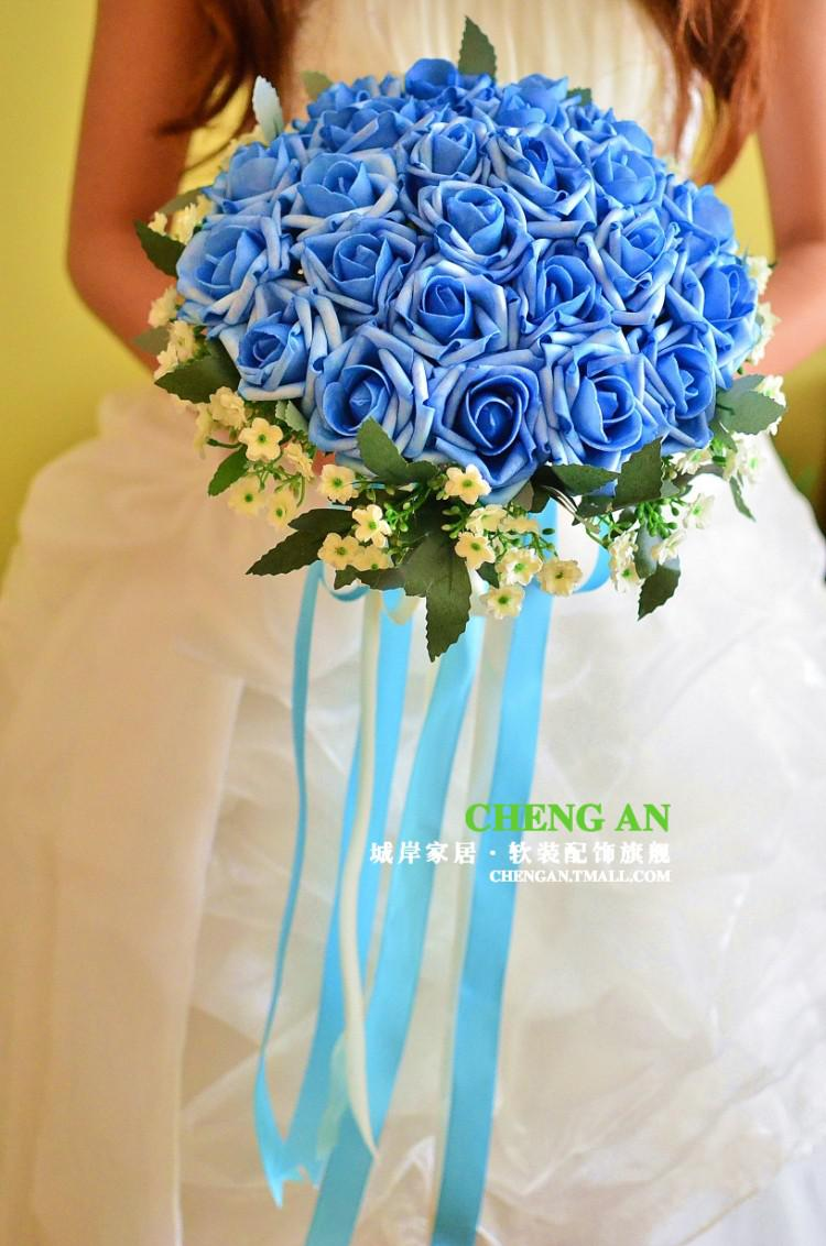 2013 New Wedding Bouquet Blue Roses Bride Bouquet Sweetheart Flower