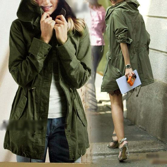 2016 New Womens Hoodie Drawstring Army Green Military Trench Parka