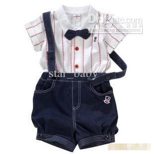 Boys Kids Toddlers Short Sleeved Bowtie Lapel Cotton Shirt + Red Star Suspender Denim Shorts Formal Clothes Suit Set SZ 90-100-110 8085
