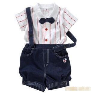 Boys Kids Toddlers Short Sleeved Bowtie Lapel Cotton Shirt + Red Star Suspender Denim Shorts Formal Clothes Suit 2pcs Set SZ 90-100-110 8085