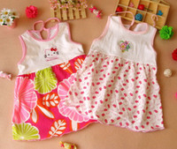 Wholesale Dresses Baby Cool - Popular pure cotton Toddle children kids one-piece dress girl baby summer cool tops clothes clothing wear