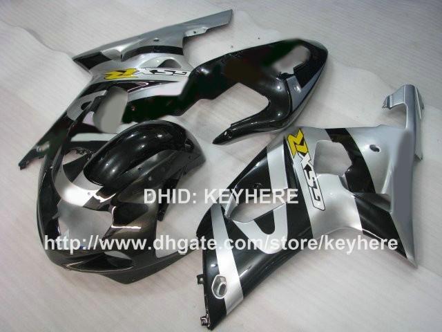 Kit de carenagem personalizado para SUZUKI GSXR600 / 750 01 02 03 GSXR 600 750 01 02 03 GSXR750 carretéis 01 k1 G7a prateado carroçaria de motocicleta preta