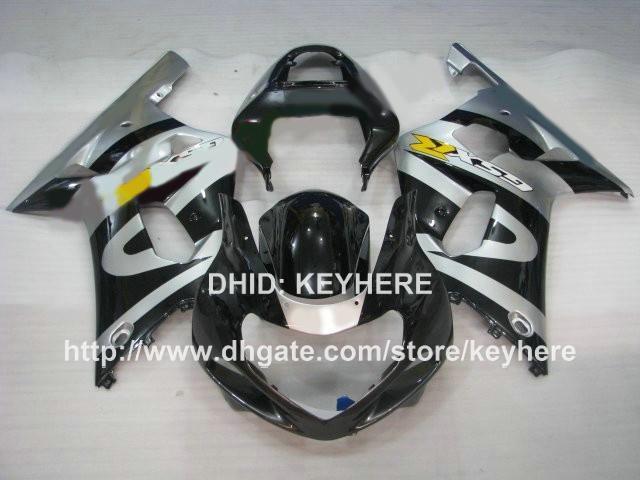 Kit carena racing custom SUZUKI GSXR600 / 750 01 02 03 GSXR 600 750 01 02 03 GSXR750 carene 01 k1 Carrozzeria moto nero argento G7a