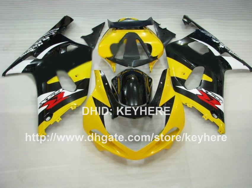Kit de carénage en plastique ABS pour SUZUKI GSX-R 600/750 2001 2002 2003 GSXR750 2001 2002 2003 Kit de carénage k1 Gb pièces de moto noir jaune