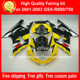 ABS Plastic fairing kit for SUZUKI GSX-R 600 750 2001 2002 2003 GSXR750 2001 2002 2003 k1 fairings body kit Gb yellow black motorcycle parts