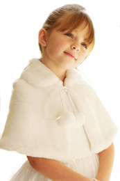 Wholesale faux fur stole ivory - Ivory White Wedding Party Flower Girl faux fur stole Wraps Cap