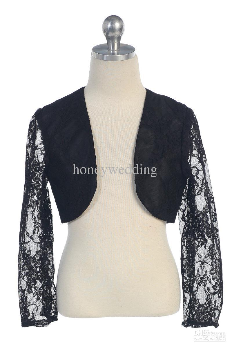 La giacca a maniche lunghe a maniche lunghe in Flower Girl Flower Party in pizzo nero bianco su ordinazione di avorio ha rubato gli involucri