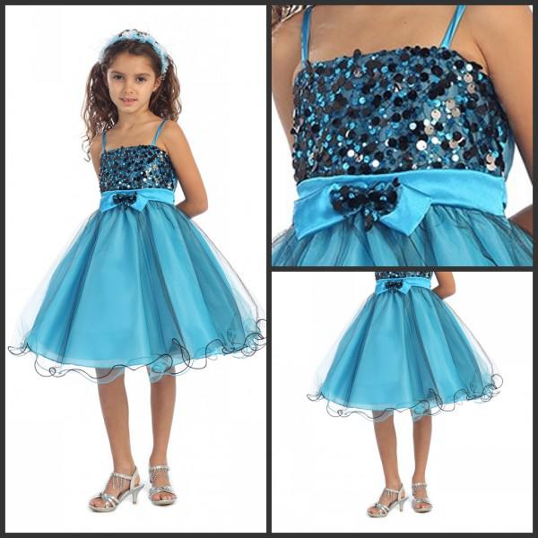 2015 Arrival Flower Girl Dresses Turquoise Black Sparkly Sequined Tulle Overlayed Dress Online Shopping