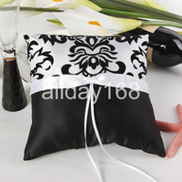 black and white ring pillow - Top quality Wedding favors black and white arabesquitic design Satin Ring Pillow for Wedding Ceremony Party Stuff Accessories