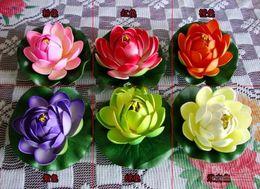 Wholesale Lotus Flowers Water - Free shipping!10CM Simulation Flower Artificial Silk Lotus floating water Home garden fish tank Decor 50pcs 30pcs