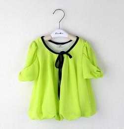 Wholesale Fluorescent T Shirts - 2013 Children's T-shirts Girls Tee Fluorescent Color Short-sleeved Tee Chiffon Puff Sleeve T-shirts Children's Clothing