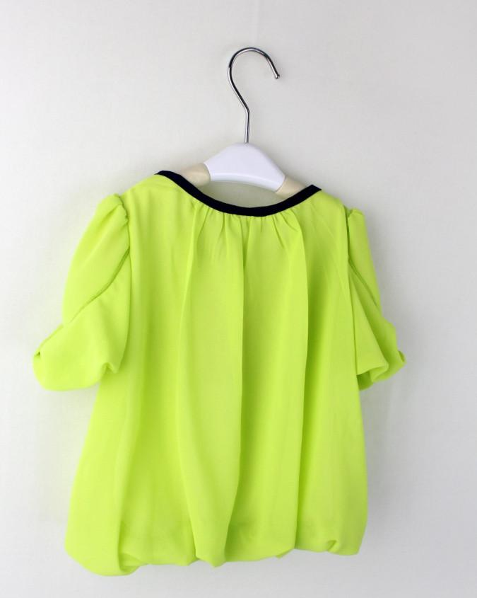 2013 Tee-shirts pour enfants Tee-shirt fille Tee-shirt à manches courtes couleur fluorescente T-shirts à manches courtes en mousseline de soie Vêtements pour enfants