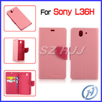 Wholesale Xperia Z Protective Cover - Mercury Case for Sony Xperia Z L36H Wallet PU Leather Stand Protective Cover with Retail Package